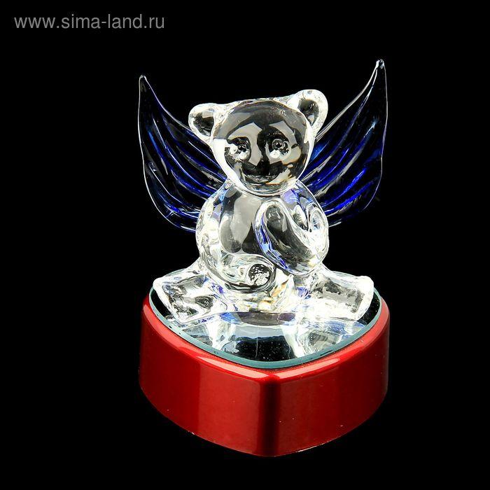 """Сувенир на зеркальной подставке """"Мишка с крыльями"""" световой"""