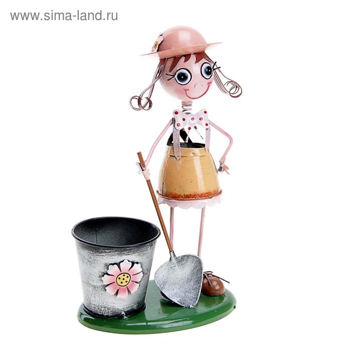 """Садовая фигура с кашпо """"Девочка с лопатой"""""""