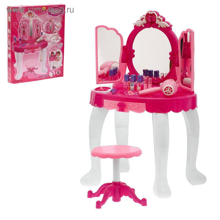 """Игровой набор """"Волшебница"""": столик с зеркалом, аксессуарами, феном, с пультом управления, МР3, высота 72 см, работает от батареек,"""