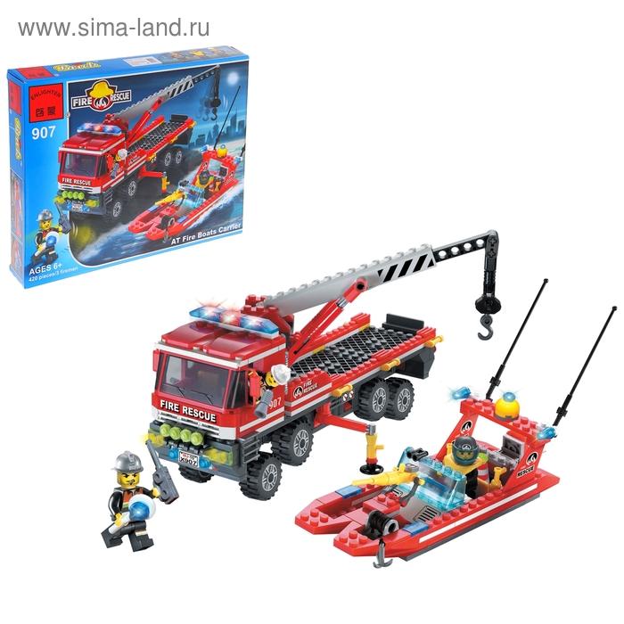 """Конструктор Пожарные спасатели """"Кран-грузовик + лодка"""", 420 деталей и 3 спасателя"""