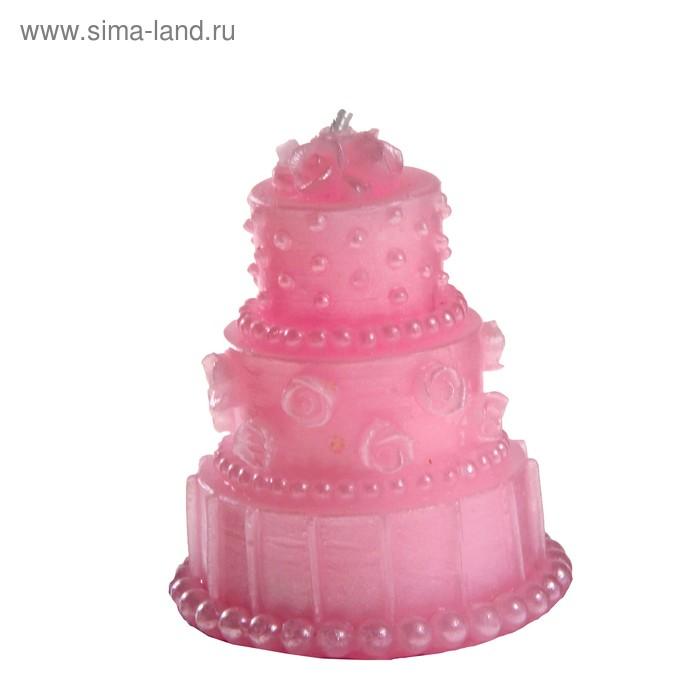 """Свеча восковая """"Тортик"""" ароматизированная, цвет розовый"""