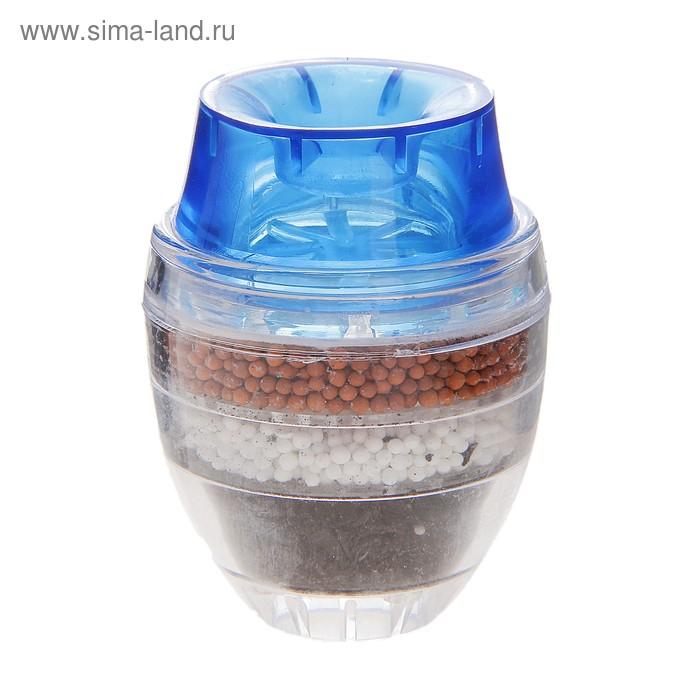 """Фильтр для воды на кран (d=16-19 мм) """"Тройной барьер"""", на основе цеолита руды, активированного угля и сульфата кальция, цвет МИКС"""