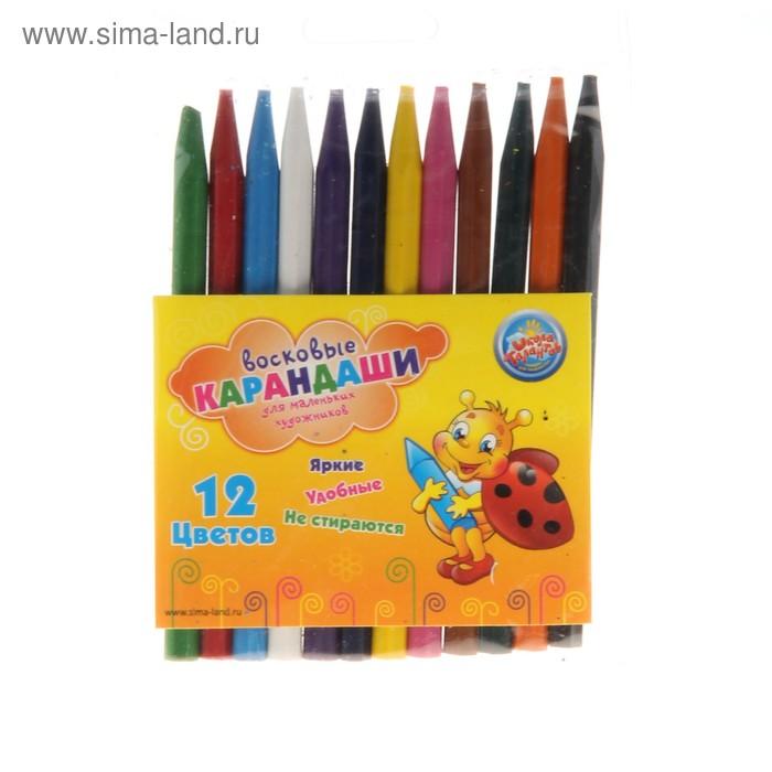 Нестираемые восковые карандаши, набор 12 цветов, высота 1 шт - 11 см, диаметр 0,7 см