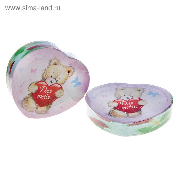 """Полотенце прессованное """"Сердце-Для тебя, мишка"""", размер 26х50 см (изображение только на этикетке), цвет микс"""