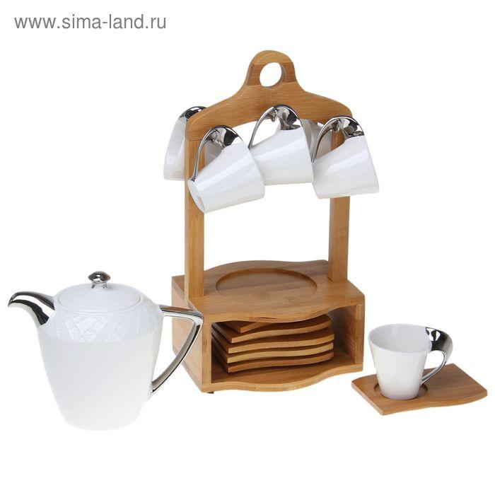 """Набор кофейный """"Друзья"""", 13 предметов: кружки 6 шт 100 мл, тарелки 6 шт, чайник 600 мл"""