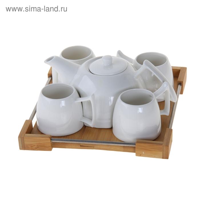 """Сервиз чайный """"Эстет"""", 5 предметов на подставке: 4 чашки 180 мл, чайник 600 мл"""