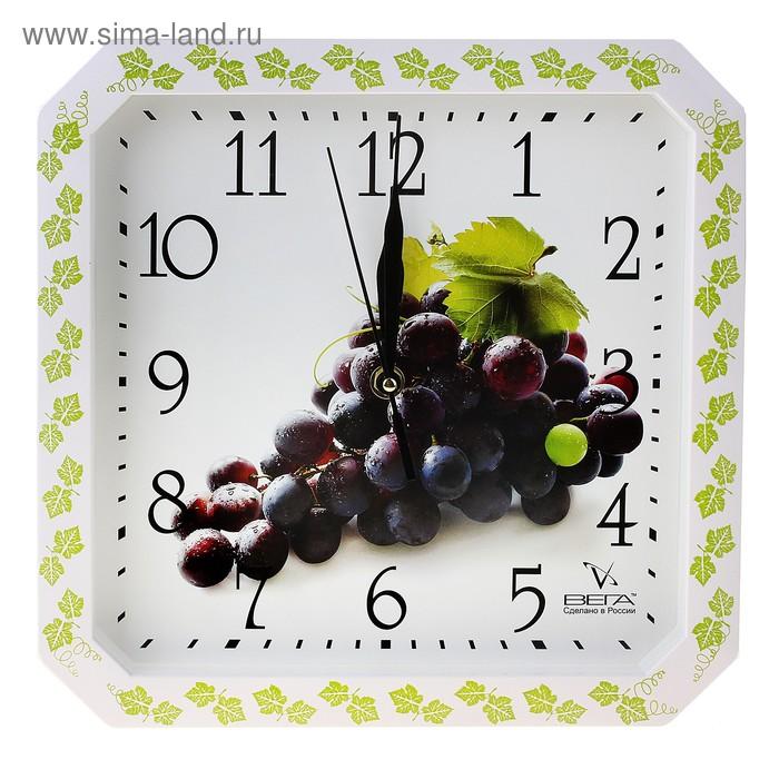 """Часы настенные квадратные """"Виноград"""", кухонные"""