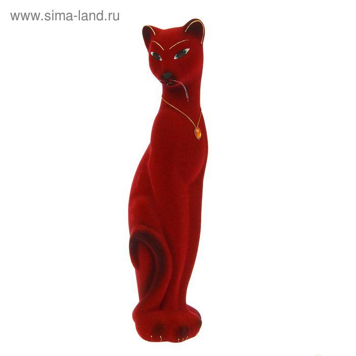 """Копилка """"Кошка Багира"""" средняя, флок, красная, жёлтый страз"""