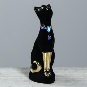 """Копилка """"Кошка"""" флок, булат, чёрная"""