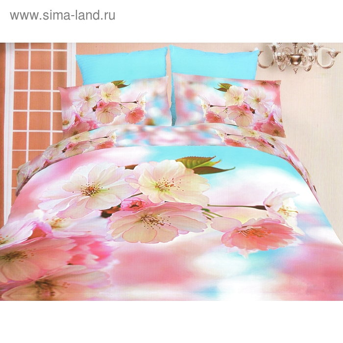 """Постельное бельё """"Этель Bamboo 3D"""" евро Цветы персика 200*220 см 220*240 см 50*70 + 5 см - 2"""