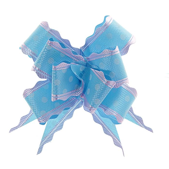 """Бант-бабочка №3 """"Горох"""", цвет голубой"""