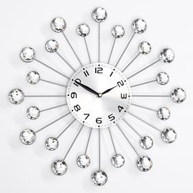 """Часы настенные интерьерные """"Лучики"""", d=34 см, кристаллы серебристые"""