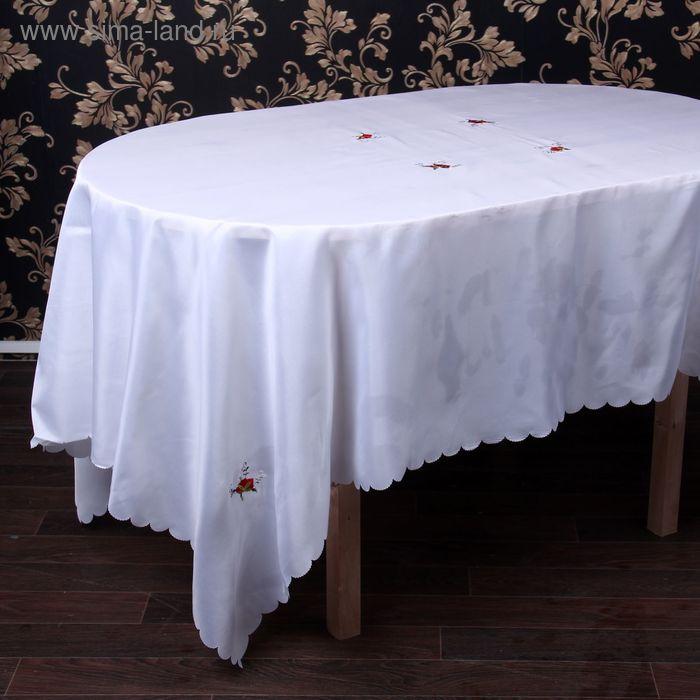 """Столовый комплект """"Розы"""", размер 150х220 см, 27х27 см - 12 шт., 100% полиэстр"""