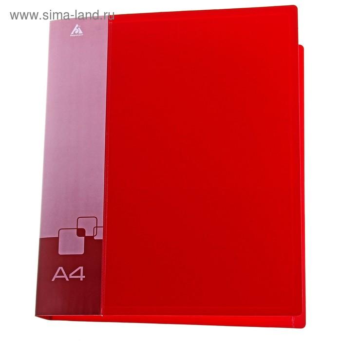 Папка на 2 кольцах А4 пластиковая, 27мм, 700мкм, внутренний торцевой карман с бумажной вставкой, красная