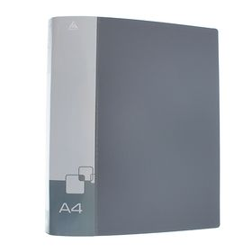 Папка на 4 кольцах А4 пластиковая, 18мм, 700мкм, внутренний торцевой карман с бумажной вставкой, серая