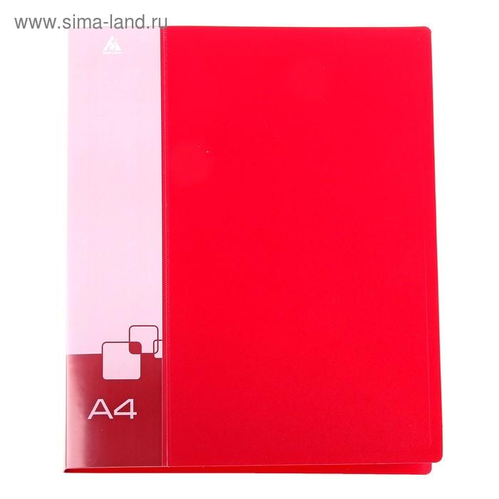 Папка на 4 кольцах А4 пластиковая, 18мм, 700мкм, внутренний торцевой карман с бумажной вставкой, красная