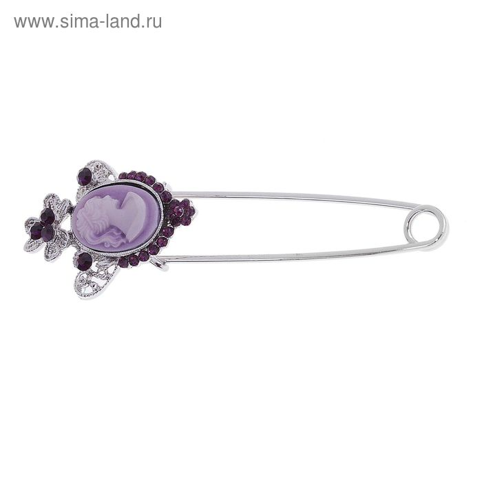 "Булавка ""Камея ажурная"", цвет фиолетовый"