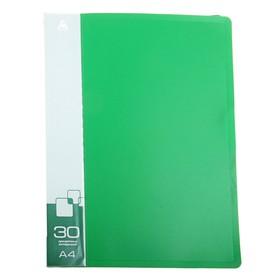 Папка с 30 прозрачными вкладышами А4, 600мкм, торцевой карман с бумажной вставкой, зелёная