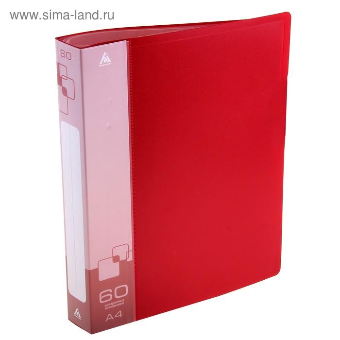 Папка с 60 прозрачными вкладышами А4, 700мкм, торцевой карман с бумажной вставкой, красная