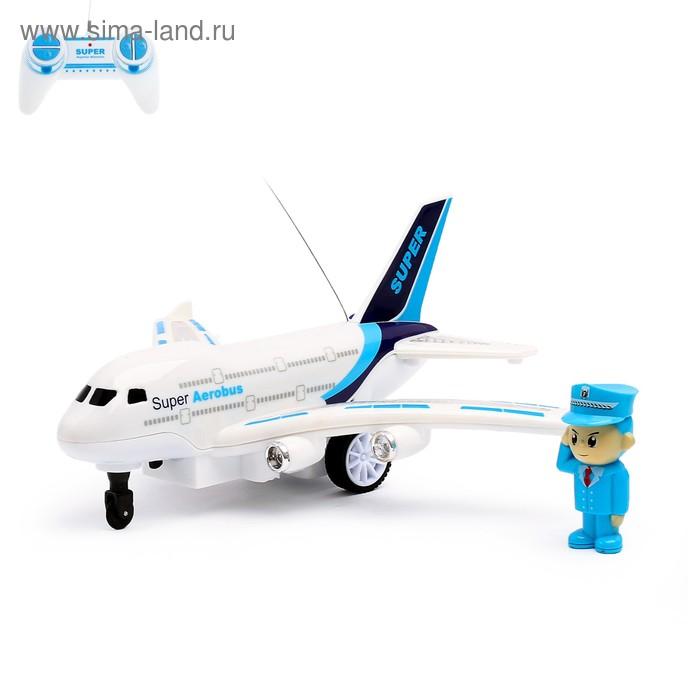 """Самолёт радиоуправляемый """"Авиалиния"""", световые и звуковые эффекты, работает от батареек, цвета МИКС"""