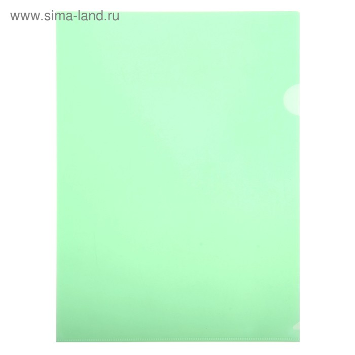 Папка-уголок A4, 180 мкм прозрачная, глянцевая, плотная, зелёная