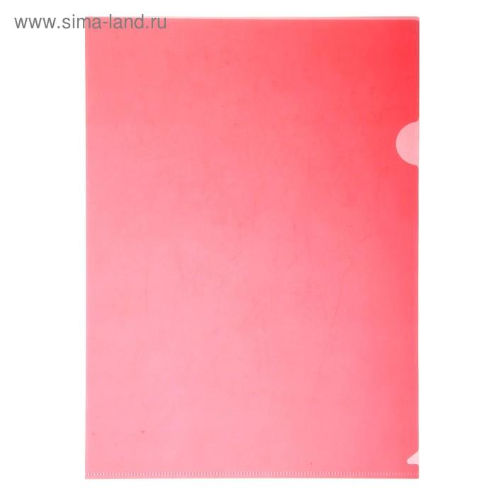 Папка-уголок A4, 180 мкм прозрачная, глянцевая, плонтная, красная