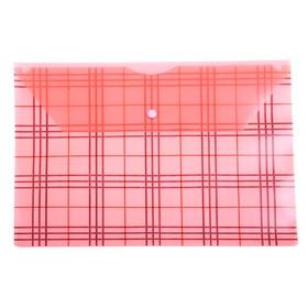 Папка-конверт с кнопкой А4, 'Клетка' 180мкм, красная Ош