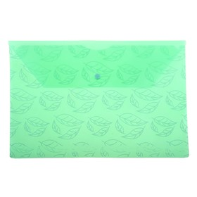 Папка-конверт на кнопке А4, 'Листочки' 180мкм, зелёная Ош