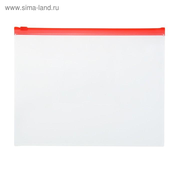Папка-конверт на гибкой молнии Zip A5 150мкм, красная