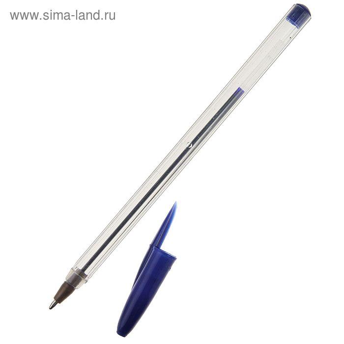 Ручка шариковая WX-942 стержень синий, прозрачный корпус с синим колпачком