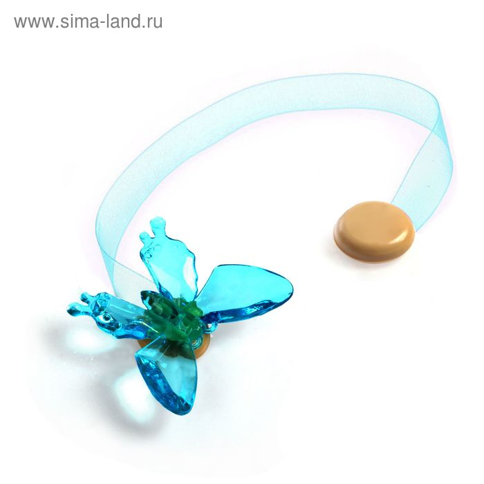"Подхват для штор на ленте ""Бабочка"", цвет голубой"