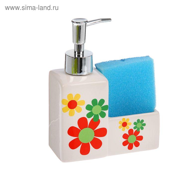 """Дозатор 250 мл """"Семицветик"""" для моющего средства, с подставкой для губки, цвета МИКС"""