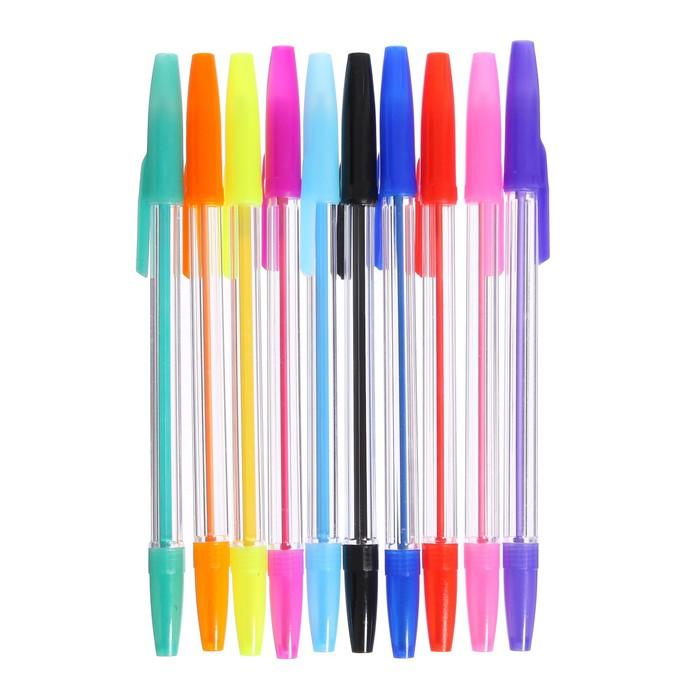 Набор ручек шариковых, 10 цветов корпус прозрачный, с цветными колпачками