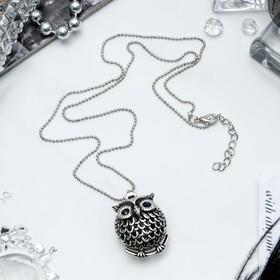 Кулон 'Сова круглая' аrt, цвет серебро черненое, 60см Ош