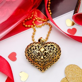 "Кулон ""Сердце полое"" аrt, цвет золото черненое, 60см"