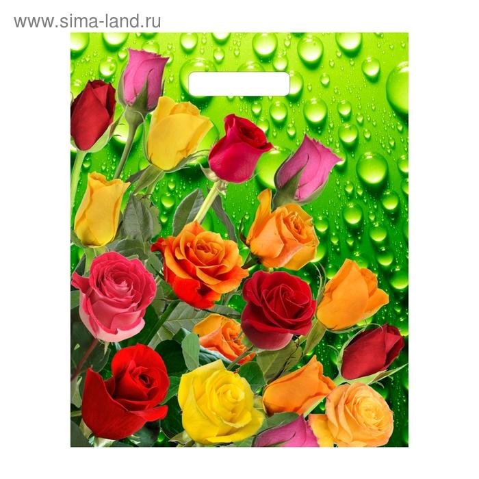 """Пакет """"Цветочная роса"""" полиэтиленовый, с вырубной ручкой, 34х40 см, 30 мкм"""