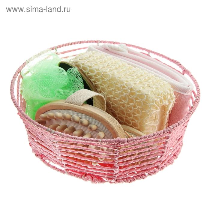 Набор банный в плетеной корзине 6 предметов: 3 мочалки, расческа, пемза-щетка, массажер