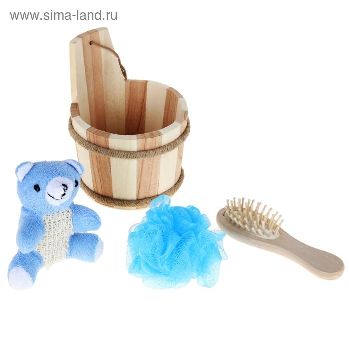 Набор банный 3 предмета (расческа, мочалка - 2 шт, игрушка), цвет МИКС