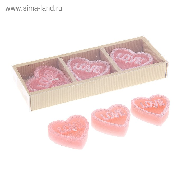 """Свечи восковые плавающие (набор 3 шт) """"Сердце Love"""", цвет розовый"""