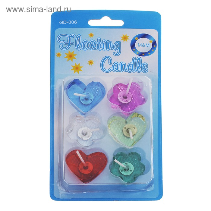 """Свечи восковые плавающие (набор 6 шт) """"Сердечки и цветочки"""""""