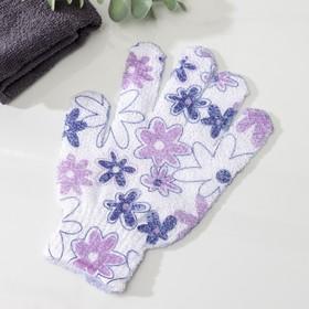 Мочалка-перчатка массажная с рисунками 18х14 см, цвета МИКС