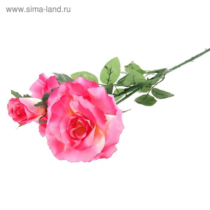 """Цветы искусственные """"Куст малиновых роз"""" 3 бутона"""