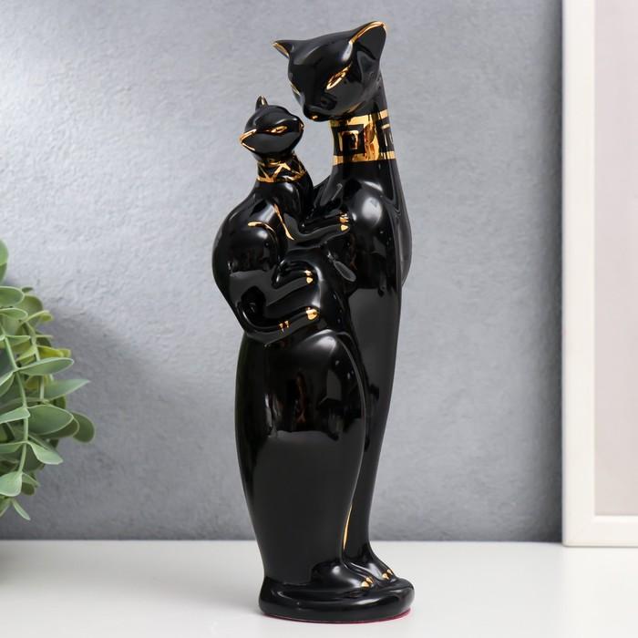 """Сувенир """"Кошка египетская с котёнком, чёрная"""" под фарфор"""