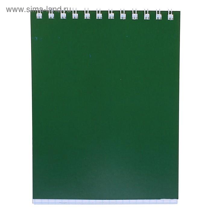 """Блокнот А6, 40 листов на гребне """"Корпоративный"""" зелёный, ВД-лак"""
