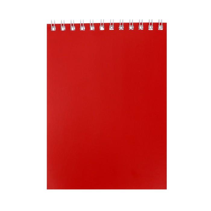 """Блокнот А6, 40 листов на гребне """"Корпоративный"""" красный, ВД-лак"""