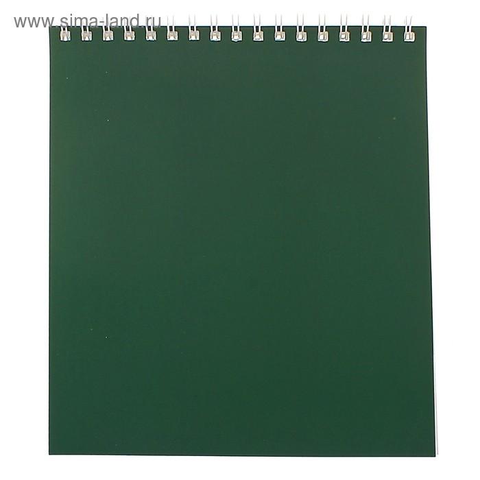 """Блокнот А5, 40 листов на гребне """"Корпоративный"""" зелёный, ВД-лак"""