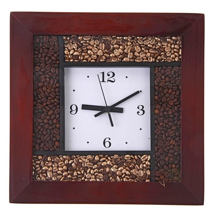 """Часы настенные квадратные """"Аромат кофе"""", деревянные"""