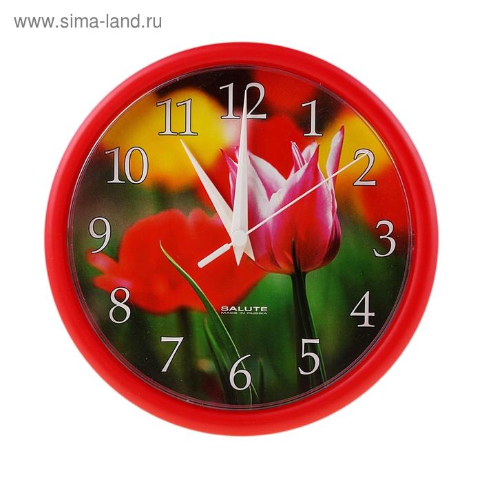"""Часы настенные круглые """"Тюльпаны"""", красные"""