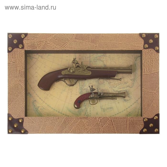 Сувенирное изделие в раме, большой и малый мушкет на карте мира