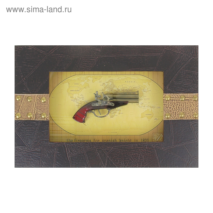 Сувенирное изделие в раме, пистоль в широкой раме с 12ю заклепками